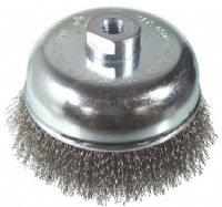 Flared cup crimp wire brush. Stainless steel wire.